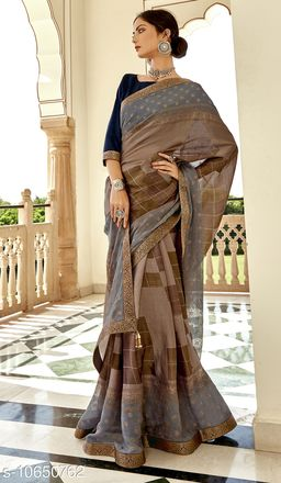 Vallabhi Prints Brown Color Brasso Silk Casual Wear Printed Saree With Blouse Piece