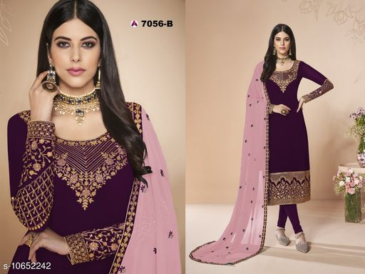 Eye Catching Pink Colored Heavy Faux Georgette With  Embroideried Worked Patiala Style Suit