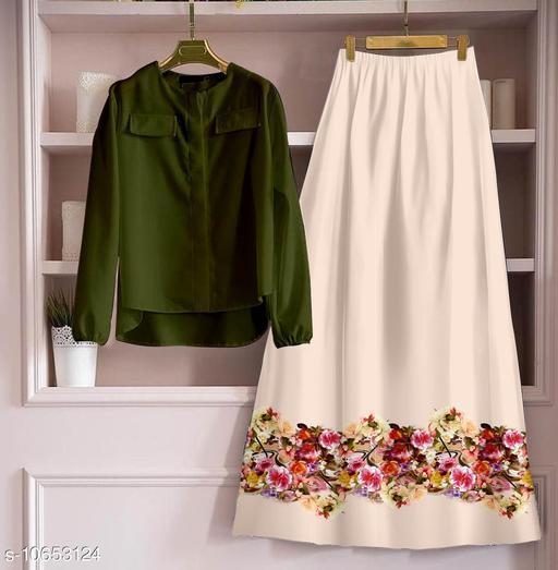 Stylish Rayon Tops And Digital Printed Skirts
