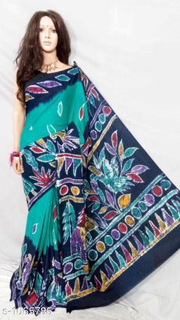 Attractive Cotton Batik Print Women's Sarees