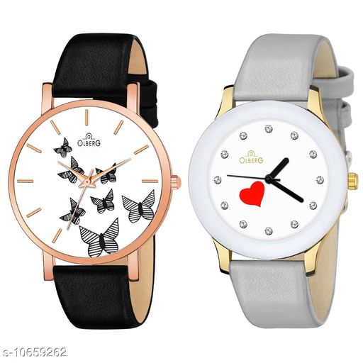 Olberg Supreme contrast casual combo designer series analog watch pack of 2 for girls and women