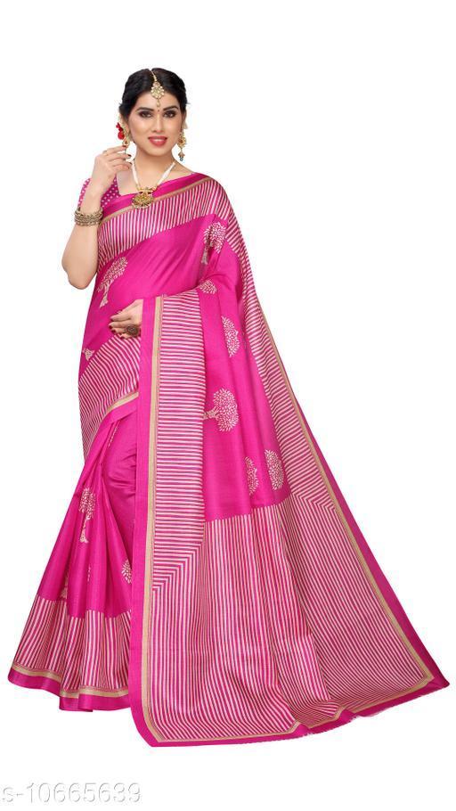 Pink Khadi Silk Printed Saree With Blouse Piece