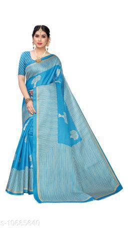 Blue Khadi Silk Printed Saree With Blouse Piece