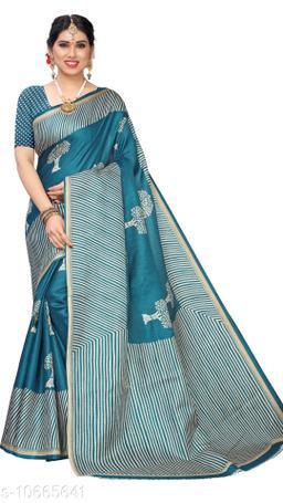 Rama Khadi Silk Printed Saree With Blouse Piece