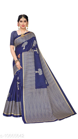 Navy Blue Khadi Silk Printed Saree With Blouse Piece
