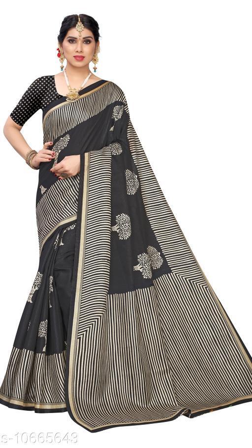 Black Khadi Silk Printed Saree With Blouse Piece