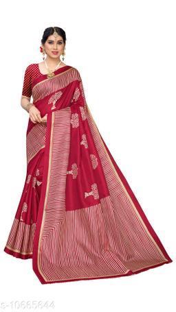 Red Khadi Silk Printed Saree With Blouse Piece