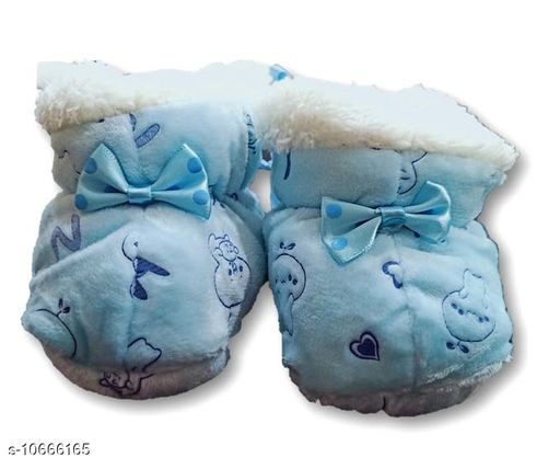 Advikavya Cuteably Wow Design Fancy Booties Socks (0-3 Months) for Babies Booties  (Toe to Heel Length)