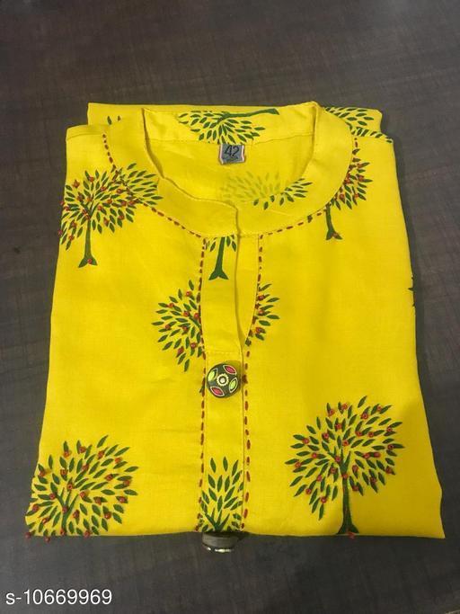 Women Rayon Printed Yellow Kurti