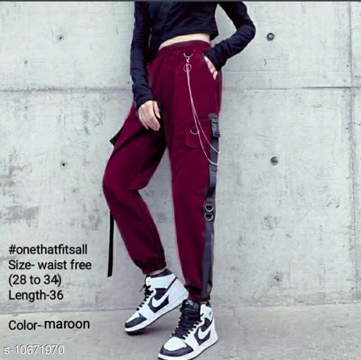 Hip-hop high waist chain big pockets loose joggers by High-Buy-free size (waist-28 to 34)-length-37-Maroon