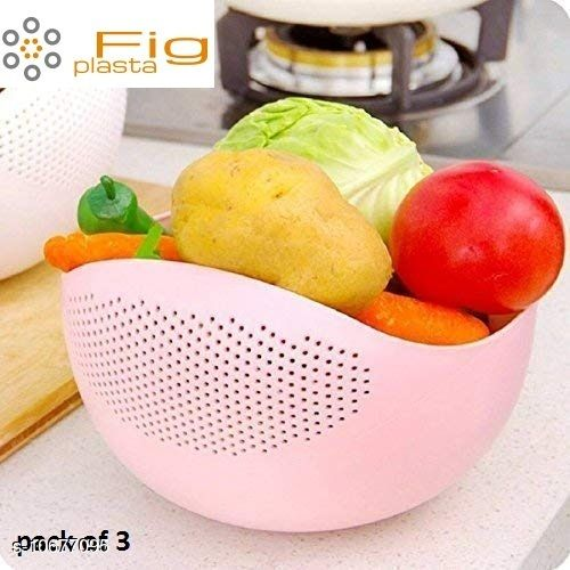 Fig plasta Pack of 3 Washing Bowl Strainer- for Rice, Pulses, Fruits & Vegetables (Multicolor)