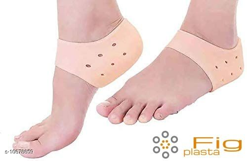 Fig plasta Silicone Gel Heel Pad Socks for Pain Relief for Men and Women (Beige, Free Size) - 1 Pair