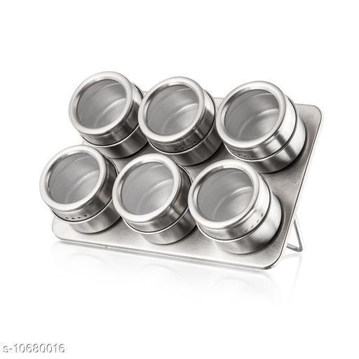 6 PCS Magnetic Stainless Steel Cruet Condiment Spice Jars Set Salt and Pepper