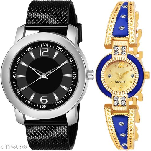 Casual Analogue Black dial Black strap combo watch for Men and Women - Vwatch_K_508_LA_903