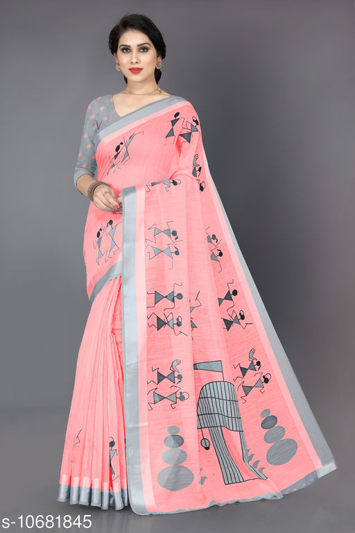 New Fancy Cotton Warli Print Saree With Unstitched Blouse Piece
