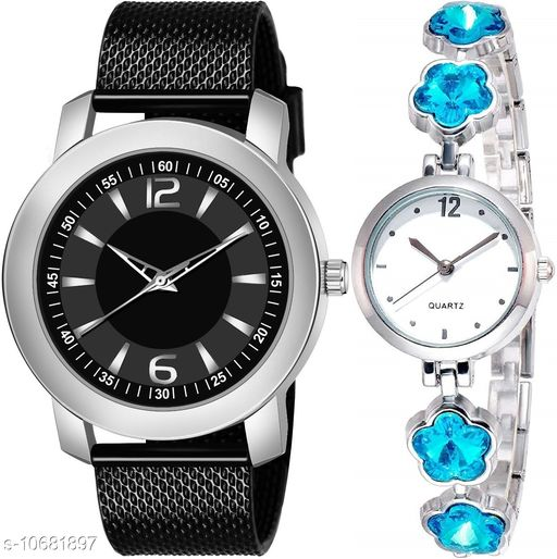 Casual Analogue Black dial Black strap combo watch for Men and Women - Vwatch_K_508_LA_784