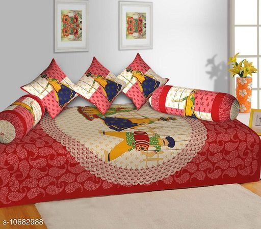 Diwan Sets Dream Home Decor Jaipuri Cotton 6 Pcs Diwan Set Included 1 Single Bedsheet , 2 Booster Cover  with 3 Cushion Cover    *Bedsheet Fabric* Cotton  *Bolster Cover Fabric* Cotton  *Cushion Cover Fabric* Cotton  *No. of Bedsheets* 1  *No. of Bolster Covers* 2  *No. of Cushion Covers* 3  *Thread Count* 500  *Print or Pattern Type* Jaipuri  *Multipack* 5  *Sizes*   *Free Size (Bedsheet Length Size* 90 in, Bedsheet Width Size  *Sizes Available* Free Size *    Catalog Name: Graceful Fashionable Diwan Sets CatalogID_1961486 C117-SC1107 Code: 437-10682988-
