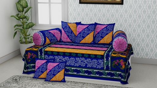 Diwan Sets  *Dream Home Decor Jaipuri Cotton 6 Pcs Diwan Set Included 1 Single Bedsheet , 2 Booster Cover  with 3 Cushion Cover   (Color * Blue)  *Bedsheet Fabric* Cotton  *Bolster Cover Fabric* Cotton  *Cushion Cover Fabric* Cotton  *No. of Bedsheets* 1  *No. of Bolster Covers* 2  *No. of Cushion Covers* 3  *Thread Count* 500  *Print or Pattern Type* Jaipuri  *Multipack* 5  *Sizes*   *Free Size (Bedsheet Length Size* 90 in, Bedsheet Width Size  *Sizes Available* Free Size *    Catalog Name: Graceful Fashionable Diwan Sets CatalogID_1961486 C117-SC1107 Code: 437-10682989-
