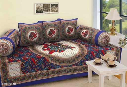 Diwan Sets Dream Home Decor Jaipuri Cotton 6 Pcs Diwan Set Included 1 Single Bedsheet , 2 Booster Cover  with 3 Cushion Cover   Elephnat Design  *Bedsheet Fabric* Cotton  *Bolster Cover Fabric* Cotton  *Cushion Cover Fabric* Cotton  *No. of Bedsheets* 1  *No. of Bolster Covers* 2  *No. of Cushion Covers* 3  *Thread Count* 500  *Print or Pattern Type* Jaipuri  *Multipack* 5  *Sizes*   *Free Size (Bedsheet Length Size* 90 in, Bedsheet Width Size  *Sizes Available* Free Size *    Catalog Name: Graceful Fashionable Diwan Sets CatalogID_1961486 C117-SC1107 Code: 437-10682991-