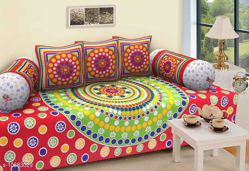 Diwan Sets Dream Home Decor Jaipuri Cotton 6 Pcs Diwan Set Included 1 Single Bedsheet , 2 Booster Cover  with 3 Cushion Cover   (Multi-Colour)  *Bedsheet Fabric* Cotton  *Bolster Cover Fabric* Cotton  *Cushion Cover Fabric* Cotton  *No. of Bedsheets* 1  *No. of Bolster Covers* 2  *No. of Cushion Covers* 3  *Thread Count* 500  *Print or Pattern Type* Jaipuri  *Multipack* 5  *Sizes*   *Free Size (Bedsheet Length Size* 90 in, Bedsheet Width Size  *Sizes Available* Free Size *    Catalog Name: Graceful Fashionable Diwan Sets CatalogID_1961495 C117-SC1107 Code: 437-10683029-