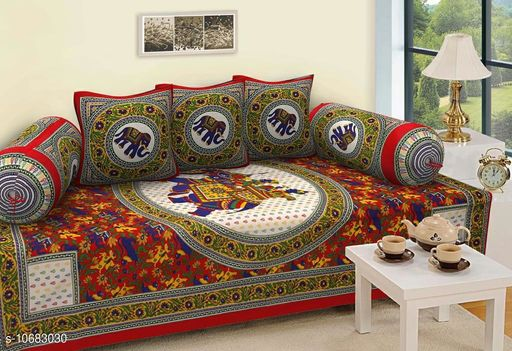Diwan Sets Dream Home Decor Jaipuri Cotton 6 Pcs Diwan Set Included 1 Single Bedsheet , 2 Booster Cover  with 3 Cushion Cover    (Multi-Colour)  *Bedsheet Fabric* Cotton  *Bolster Cover Fabric* Cotton  *Cushion Cover Fabric* Cotton  *No. of Bedsheets* 1  *No. of Bolster Covers* 2  *No. of Cushion Covers* 3  *Thread Count* 500  *Print or Pattern Type* Jaipuri  *Multipack* 5  *Sizes*   *Free Size (Bedsheet Length Size* 90 in, Bedsheet Width Size  *Sizes Available* Free Size *    Catalog Name: Graceful Fashionable Diwan Sets CatalogID_1961495 C117-SC1107 Code: 437-10683030-