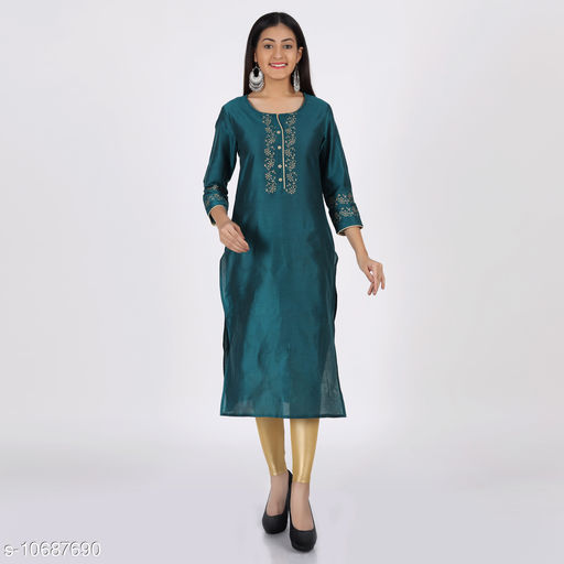 ADITEE Womens Poly Silk Solid Straight Kurta (Teal Blue)