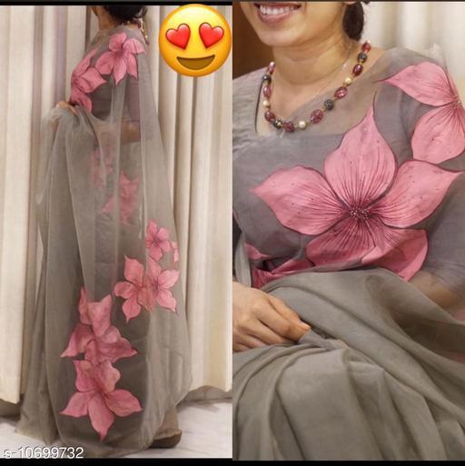 organza khadi with heavy digital print saree and banglory blouse