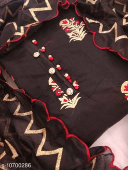 CHANDERI SILK WITH EMBROIDERY