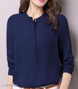 women's blue collar top