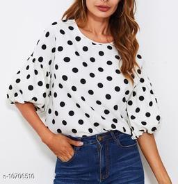 Women's white polka dot top