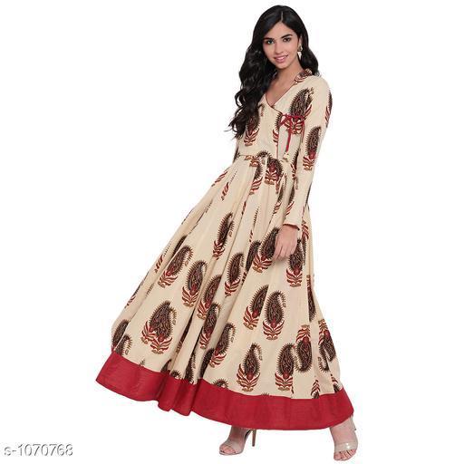 Divena Women's Cotton Ethnic Motif Printed Angrakha Kurti