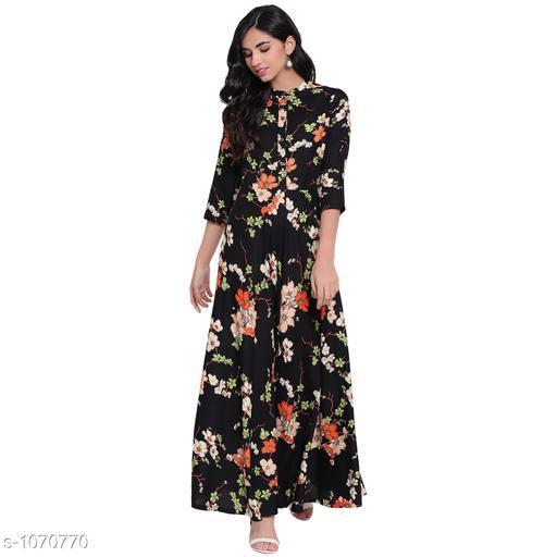 Divena Women's Rayon Floral Printed Flared Kurti