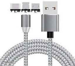 Magnet Cable Charger  for Android, All Type C Mobiles and iOS Mobiles 1.2 m Magnetic Charging Cable
