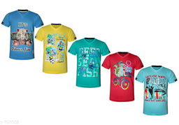 Trendy Cotton Knitted Boy's T-shirts(Pack Of 5)
