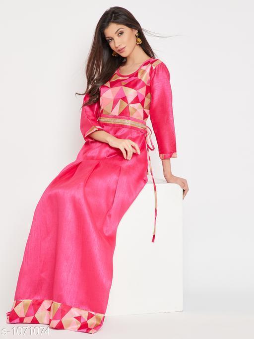 Women's Printed Dupion Silk Long Anarkali Kurti