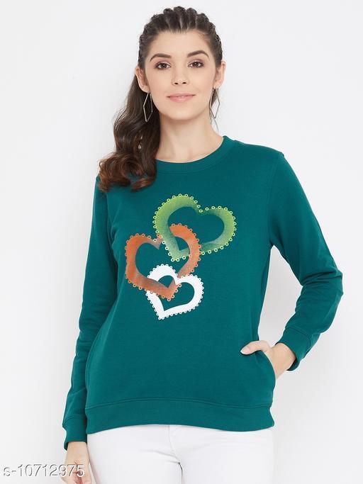 Bishop Cotton Women's Green Full Sleeves Round Neck Printed Sweatshirt