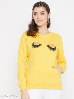 Bishop Cotton Women's Yellow Full Sleeves Round Neck Printed Sweatshirt