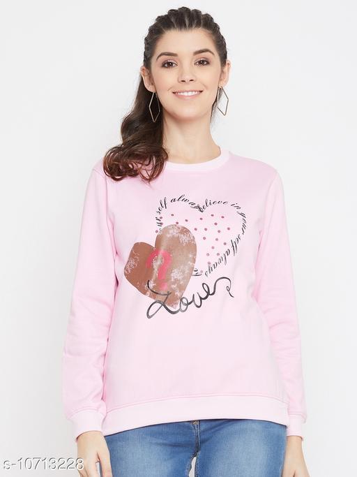 Bishop Cotton Women's Pink Full Sleeves Round Neck Printed Sweatshirt