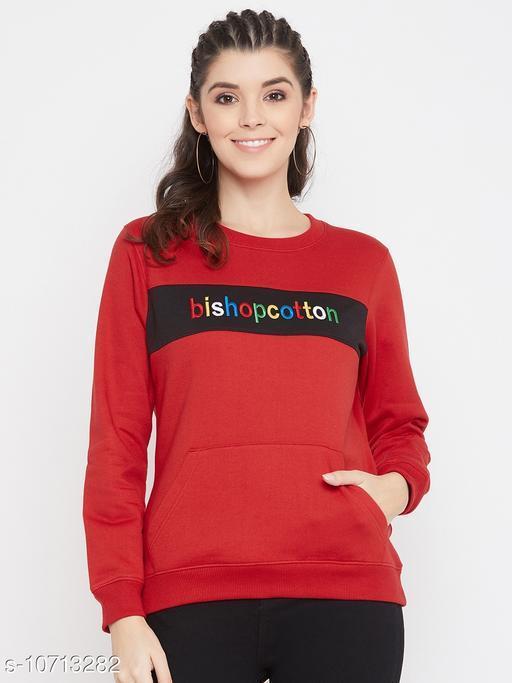 Bishop Cotton Women's Red Full Sleeves Round Neck Colorblocked Sweatshirt