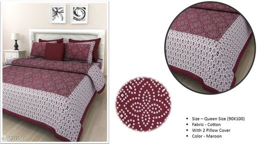 Jaipuri Famous Double Bed Cotton Bedsheet Chunri Pattern Printed Bed Sheet Color - Maroon
