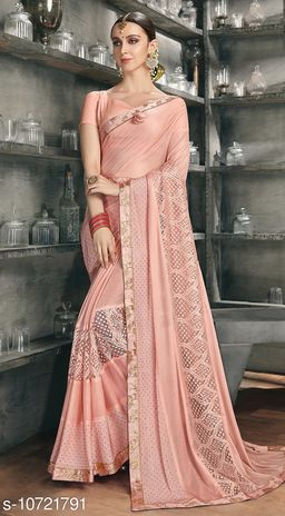 Triveni Peach Color Synthetic Party wear Embellished Saree With Blouse Piece