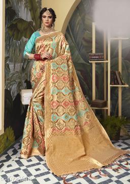 Triveni Beige Color Poly Silk Party wear Woven Design Saree With Blouse Piece