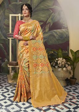 Triveni Yellow Color Poly Silk Party wear Woven Design Saree With Blouse Piece