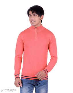 Ogarti cotton Half Zip  Coral Colour Sweater