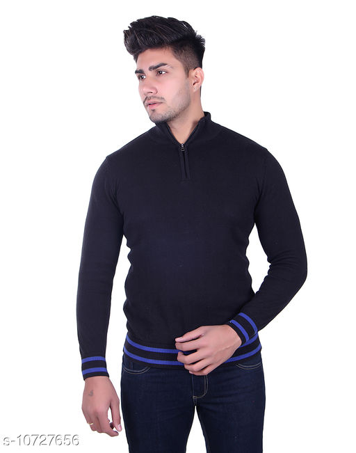 Ogarti cotton Half Zip  Black Colour Sweater