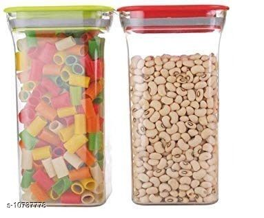FrekichPlastic Container Set for Kitchen, Kit Kat Container, BPA Free Containers, Unbreakable Plastic, Snacks Containers for Storage, Air Tight Containers for Kitchen, Set of 2 (1100 ml)