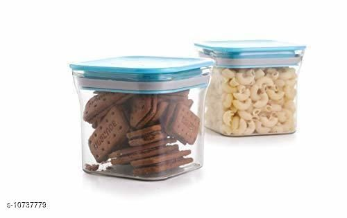 Frekich Plastic Container Set for Kitchen, Kit Kat Container, BPA Free Containers, Unbreakable Plastic, Snacks Containers for Storage, Air Tight Containers for Kitchen, Set of 2 (600 ml)