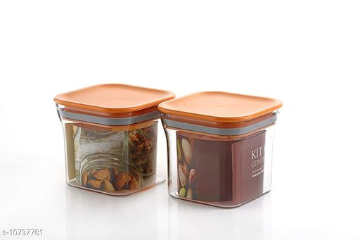 FrekichPlastic Container Set for Kitchen, Kit Kat Container, BPA Free Containers, Unbreakable Plastic, Snacks Containers for Storage, Air Tight Containers for Kitchen, Set of 2 (600 ml)