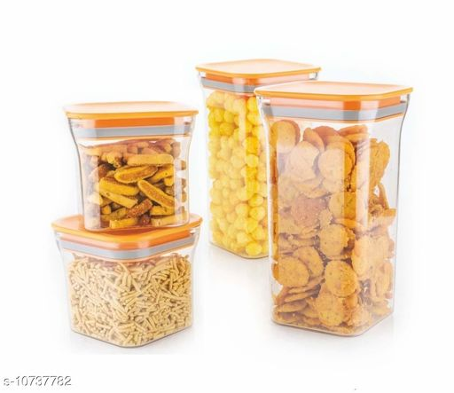 FrekichPlastic Container Set for Kitchen, Kit Kat Container, BPA Free Containers, Unbreakable Plastic, Snacks Containers for Storage, Air Tight Containers for Kitchen, Set of 4 (600ml 2pcs & 1100 ml 2pcs)