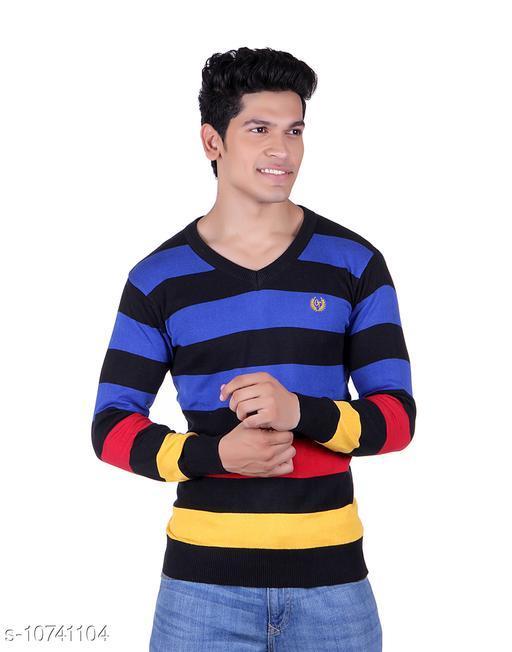 Ogarti cotton Stripper V Neck Black  Colour Sweater
